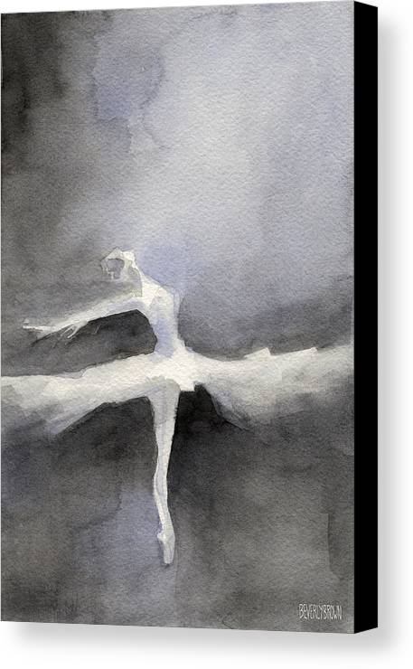 Swan Lake Canvas Print featuring the painting Ballet Dancer In White Tutu Watercolor Paintings Of Dance by Beverly Brown Prints
