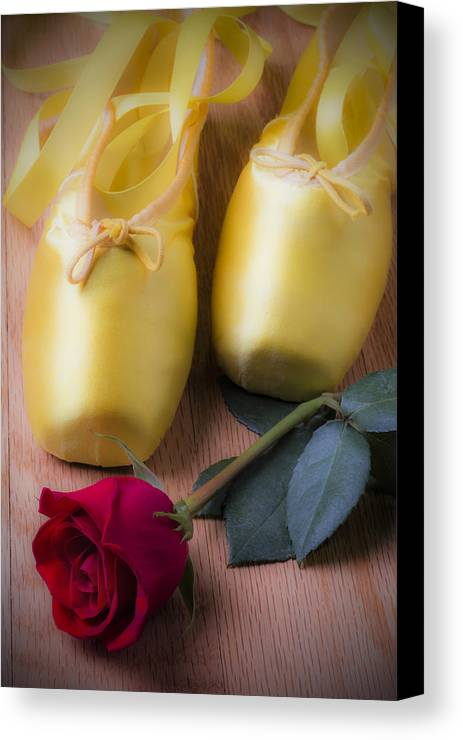 Ballet Shoes Shoe Canvas Print featuring the photograph Ballet Shoes With Red Rose by Garry Gay