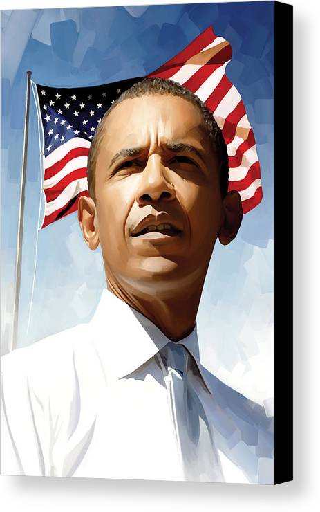 Barack Obama Paintings Canvas Print featuring the painting Barack Obama Artwork 1 by Sheraz A