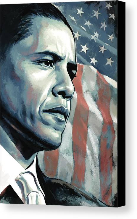 Barack Obama Paintings Canvas Print featuring the painting Barack Obama Artwork 2 B by Sheraz A