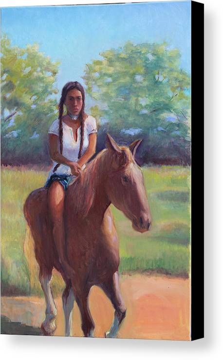Native American Canvas Print featuring the painting Bareback Riding by Gwen Carroll