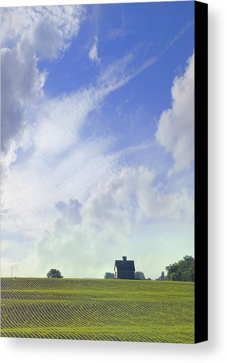 Farm & Barn Canvas Print featuring the photograph Barn On Top Of The Hill by Mike McGlothlen