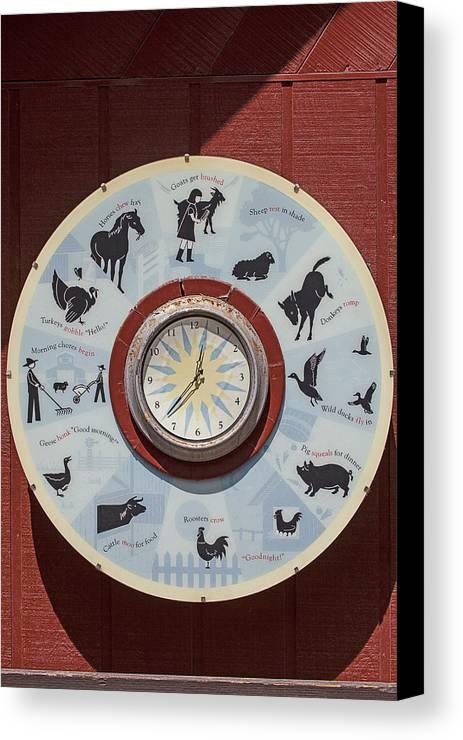 Barn Canvas Print featuring the photograph Barn Yard Clock by Garry Gay