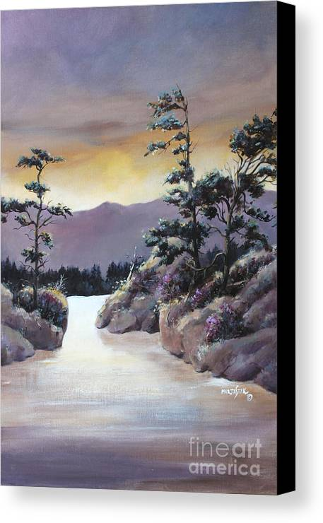 Landscape Canvas Print featuring the painting Bathing In Sunset Colors 1 by Marta Styk