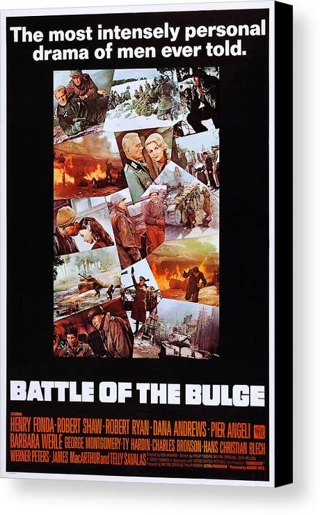 1960s Movies Canvas Print featuring the photograph Battle Of The Bulge, Us Poster, Robert by Everett