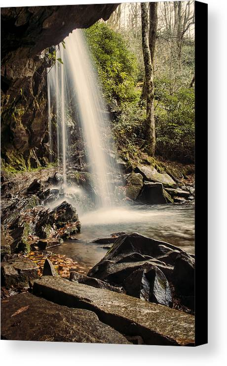 Grotto Falls Canvas Print featuring the photograph Behind The Falls by Heather Applegate