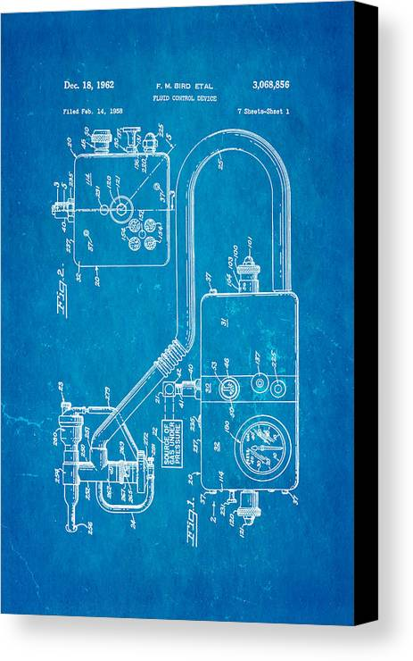 Doctor Canvas Print featuring the photograph Bird Respirator Patent Art 1962 Blueprint by Ian Monk