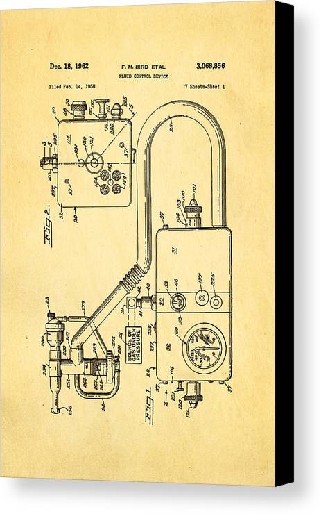 Doctor Canvas Print featuring the photograph Bird Respirator Patent Art 1962 by Ian Monk