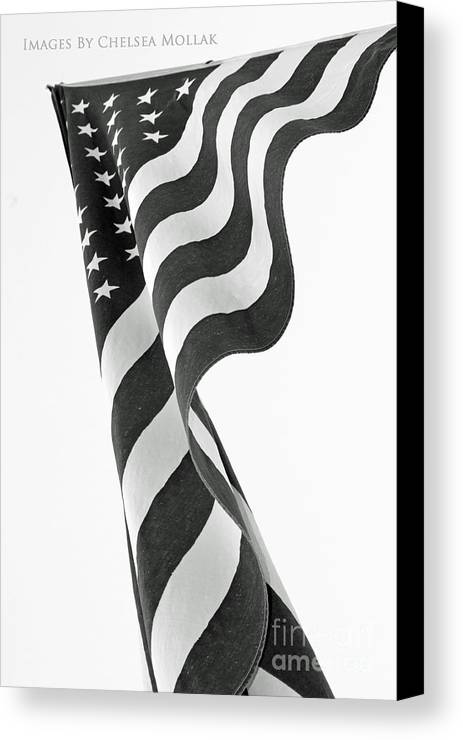 Flag Canvas Print featuring the photograph Black And White Flag by Chelsea Mollak