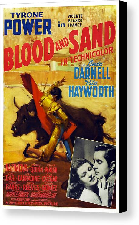 1940s Movies Canvas Print featuring the photograph Blood And Sand, Us Poster, From Left by Everett