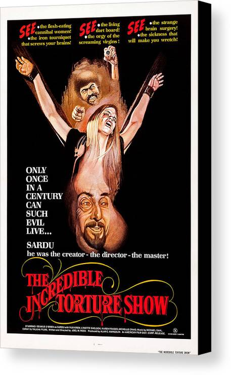 1970s Poster Art Canvas Print featuring the photograph Bloodsucking Freaks, Aka The Incredible by Everett