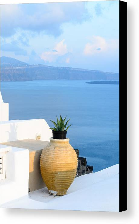 Greece Canvas Print featuring the photograph Blue And White by Zoomclickboom Studio