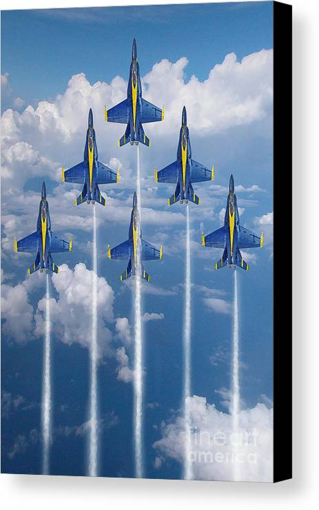 Blue Angels Canvas Print featuring the digital art Blue Angels by J Biggadike