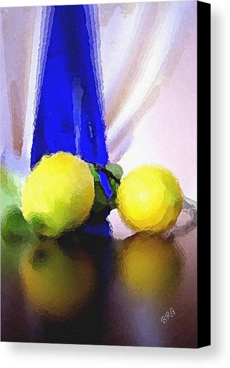 Still Life Canvas Print featuring the photograph Blue Bottle And Lemons by Ben and Raisa Gertsberg