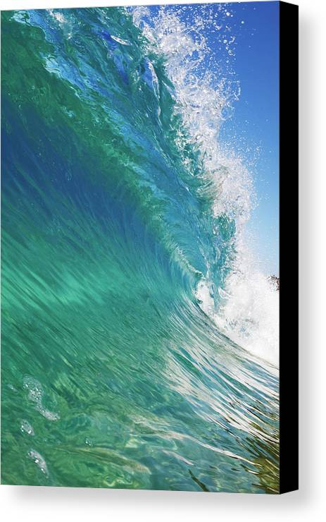 Clean Canvas Print featuring the photograph Blue Ocean Wave, View From In The Water by Design Pics Vibe