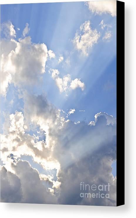 Sky Canvas Print featuring the photograph Blue Sky With Sun Rays by Elena Elisseeva