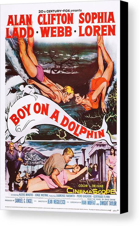 1950s Poster Art Canvas Print featuring the photograph Boy On A Dolphin, Us Poster, Center by Everett