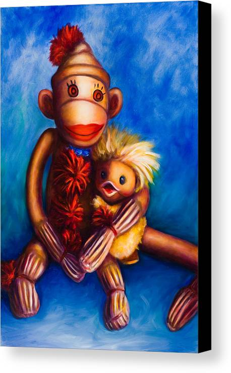 Sock Monkeys Brown Canvas Print featuring the painting Buddies by Shannon Grissom