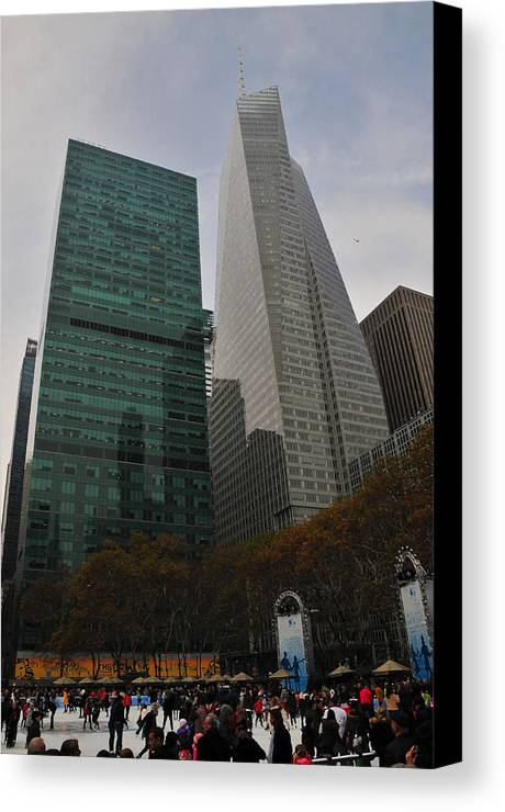 City Canvas Print featuring the photograph Buildings Behind Bryant Park by Mike Martin