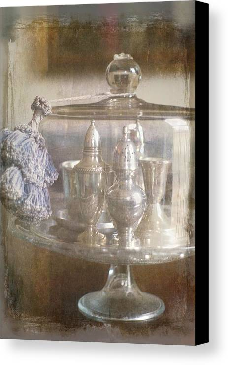 Blue Canvas Print featuring the photograph Cake Stand With Tassel by Suzanne Powers