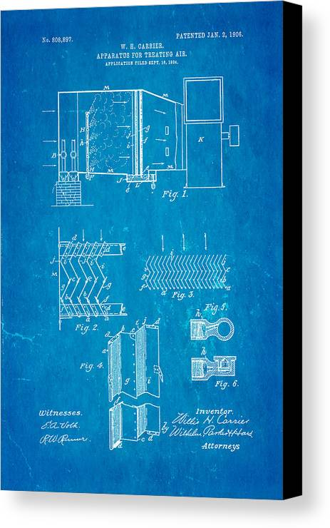 Engineer Canvas Print featuring the photograph Carrier Air Conditioning Patent Art 1906 Blueprint by Ian Monk