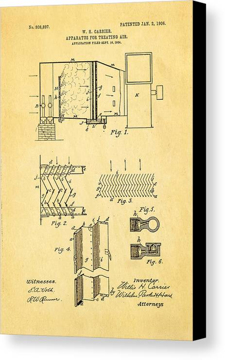 Engineer Canvas Print featuring the photograph Carrier Air Conditioning Patent Art 1906 by Ian Monk