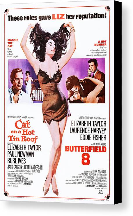 1960 Movies Canvas Print featuring the photograph Cat On A Hot Tin Roof, Combo Poster by Everett