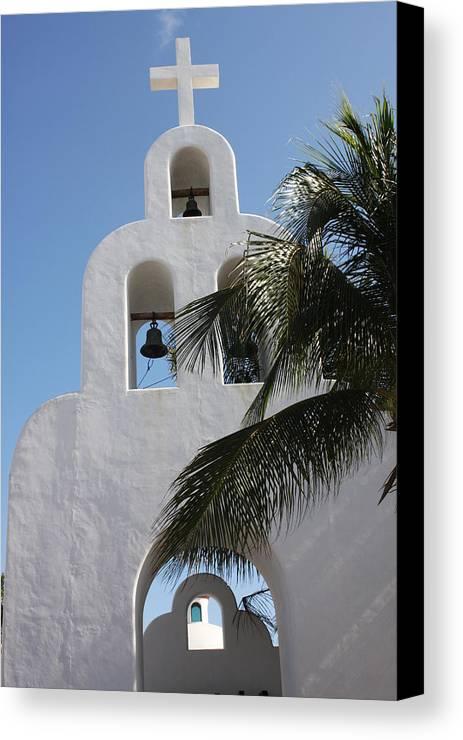 Mexico Canvas Print featuring the photograph Catholic Church Playa Del Carmen by Lee Vanderwalker