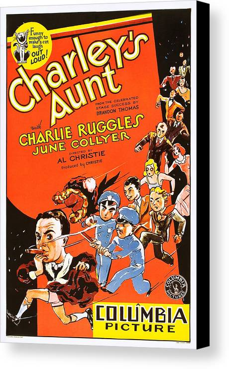 1930 Movies Canvas Print featuring the photograph Charleys Aunt, Charles Ruggles by Everett