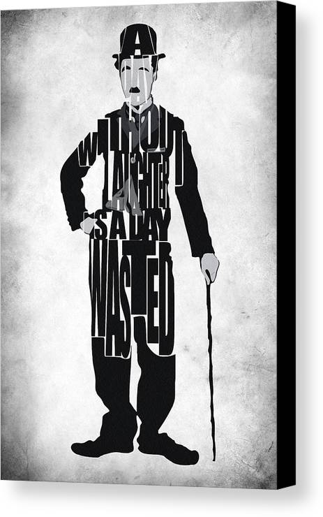 Charlie Chaplin Canvas Print featuring the painting Charlie Chaplin Typography Poster by Inspirowl Design