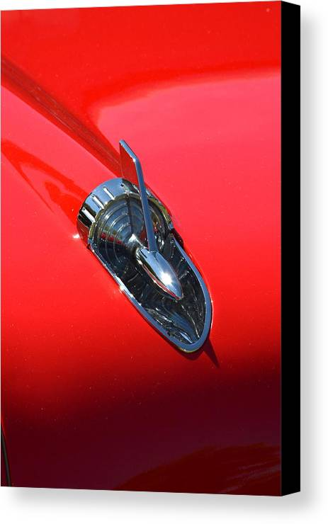 Red Canvas Print featuring the photograph Chevy Hood by Dean Ferreira