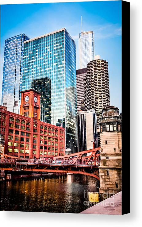 America Canvas Print featuring the photograph Chicago Downtown At Lasalle Street Bridge by Paul Velgos