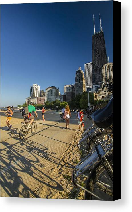 Chicago Canvas Print featuring the photograph Chicago's Lakefront Bike Path On A Summer Evening by Sven Brogren