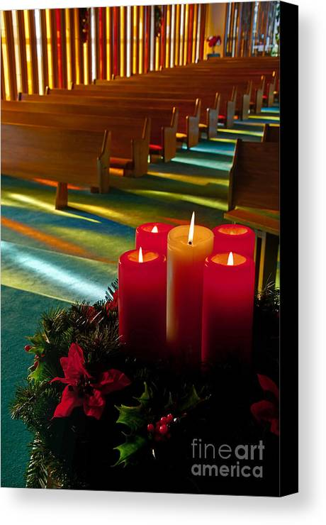 Christmas Canvas Print featuring the photograph Christmas Candles At Church Art Prints by Valerie Garner