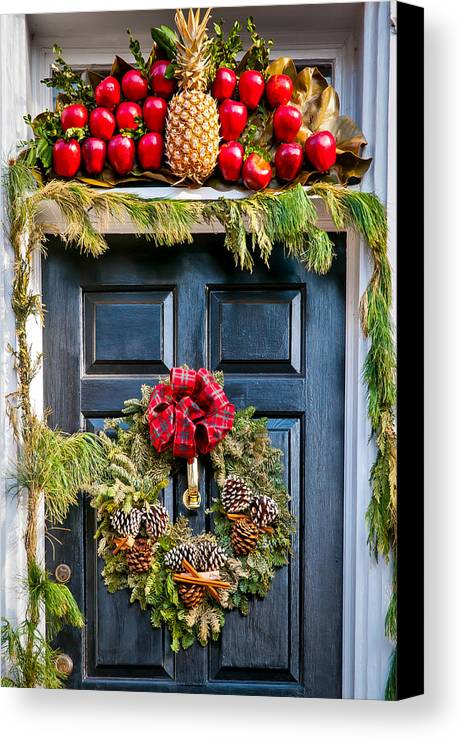 Wreath Canvas Print featuring the photograph Christmas Door 8 by William Krumpelman