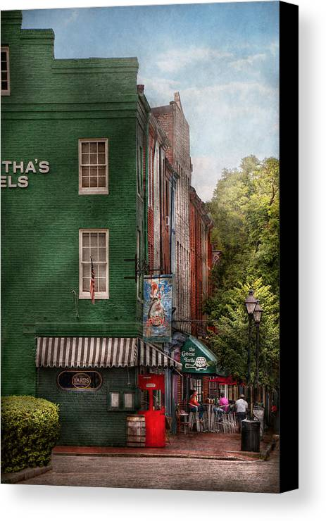 Baltimore Canvas Print featuring the photograph City - Baltimore - Fells Point Md - Bertha's And The Greene Turtle by Mike Savad
