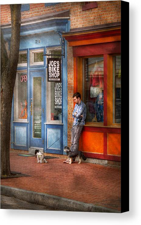 Baltimore Canvas Print featuring the photograph City - Baltimore Md - Waiting By Joe's Bike Shop by Mike Savad