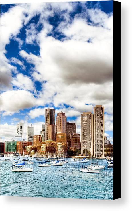 Boston Harbor Canvas Print featuring the photograph Classic Boston Skyline From The Water by Mark E Tisdale