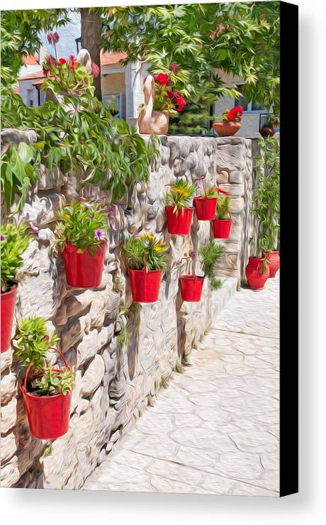 Architecture Canvas Print featuring the digital art Colourful Flower Pots by Roy Pedersen