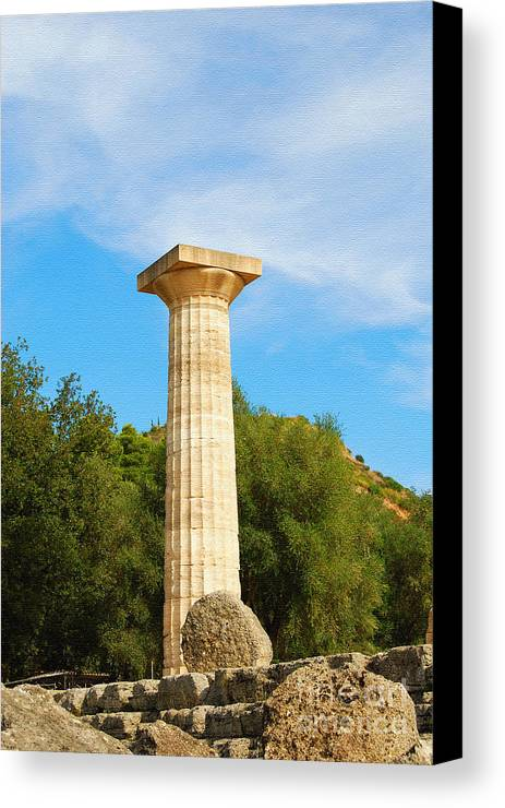 Stone Canvas Print featuring the digital art Column At The Temple Of Hera Olympia Greece by Eva Kaufman