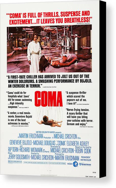 1970s Poster Art Canvas Print featuring the photograph Coma, Left Genevieve Bujold On Poster by Everett