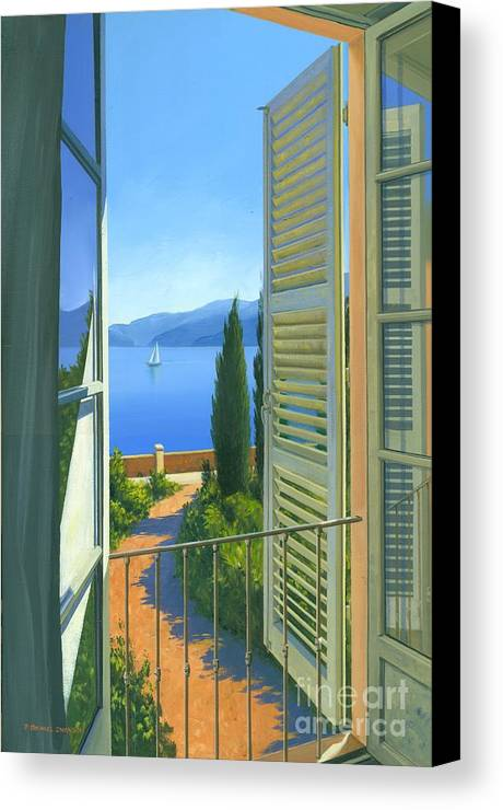Lake Como Canvas Print featuring the painting Como View by Michael Swanson