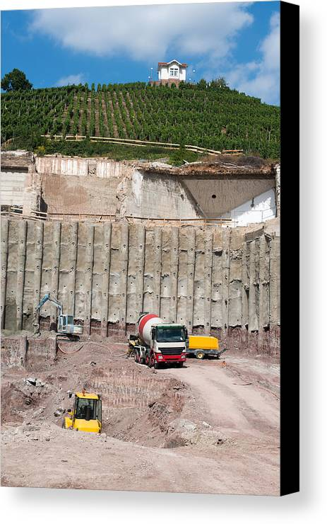 Concrete Canvas Print featuring the photograph Construction Site On The Hill by Frank Gaertner