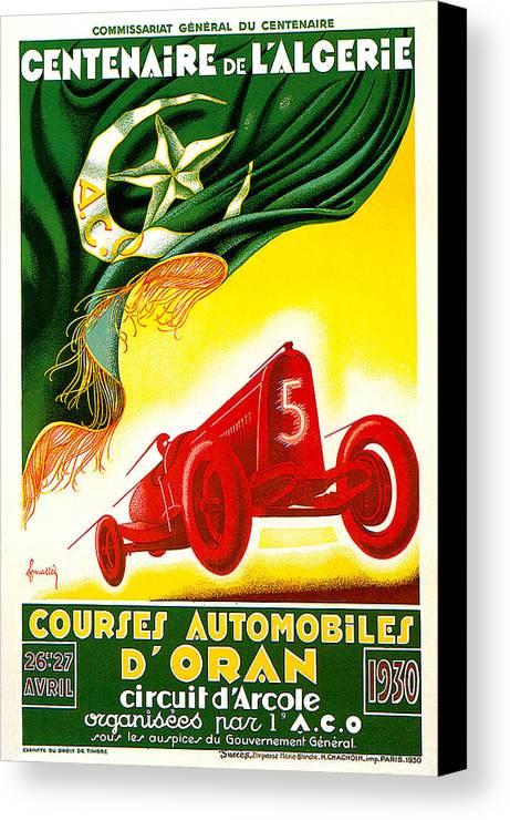 Courses Automobiles D Oran Canvas Print featuring the photograph Courses Automobiles D Oran by Vintage Automobile Ads and Posters