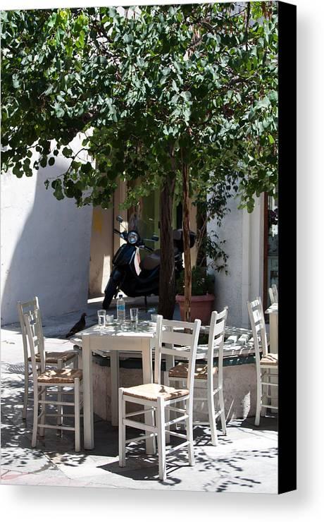 Greece Canvas Print featuring the photograph Cozy Greek Taverna by Frank Gaertner