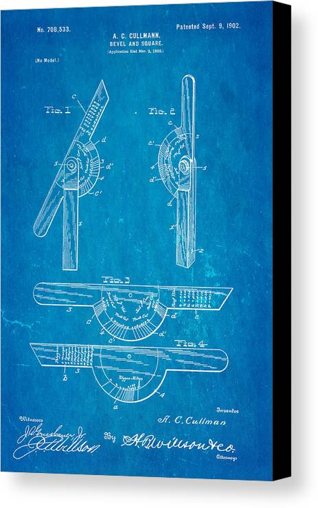 Men Canvas Print featuring the photograph Cullmann Bevel And Square Patent Art 1902 Blueprint by Ian Monk