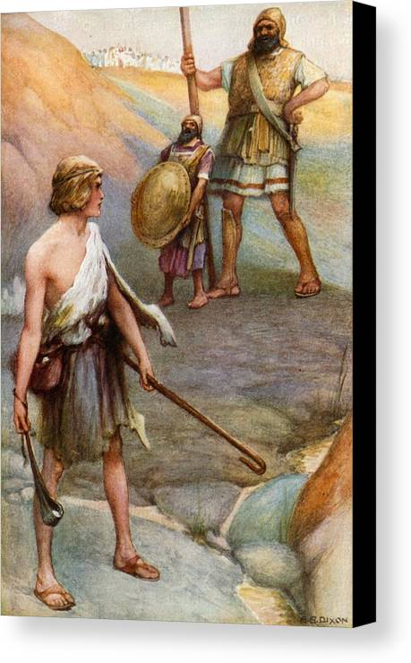 Bible Canvas Print featuring the painting David And Goliath by Arthur A Dixon