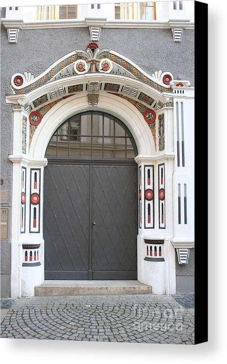 Door Canvas Print featuring the photograph Decorated Old Door by Christiane Schulze Art And Photography