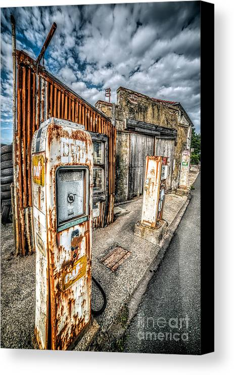 Derelict Canvas Print featuring the photograph Derelict Gas Station by Adrian Evans