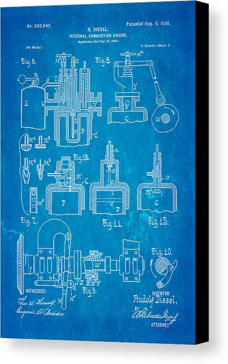 Automotive Canvas Print featuring the photograph Diesel Internal Combustion Engine Patent Art 1898 Blueprint by Ian Monk